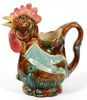FRENCH MAJOLICA ROOSTERFORM PITCHER LATE 19TH C