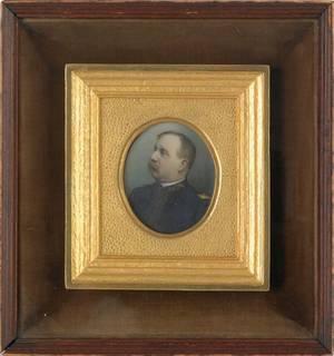 Miniature watercolor portrait late 19th c