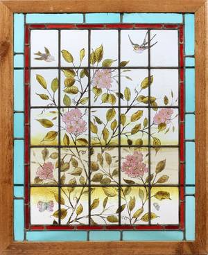 STAINED  LEADED GLASS WINDOW LATE 19TH C