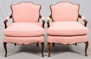 PROVINCIAL STYLE WALNUT FRAME CHAIRS PAIR