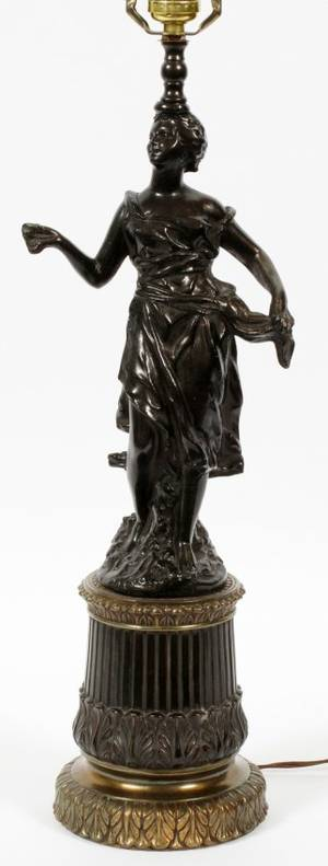 SPELTER FIGURAL TABLE LAMP