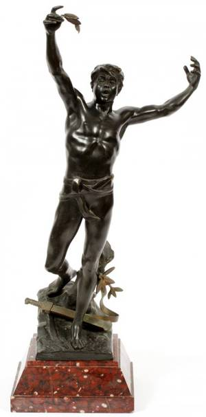 FRENCH PATINATED BRONZE SCULPTURE LATE 19TH C