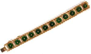 14KT YELLOW GOLD  JADE BRACELET