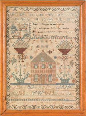 American silk on linen sampler wrought by Susan Cole Jan 28 1826