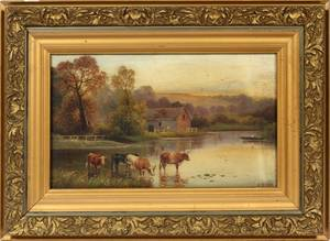 J MORRIS ENGLISH LANDSCAPE OIL ON CANVAS 19THC