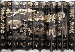 CHINESE BLACK LACQUER 12 PANEL SCREEN