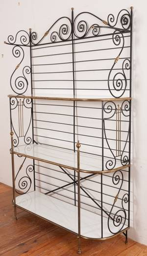 Iron Brass  Milk Glass Bakers Rack