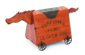Pine hobby horse advertising Simpsons Pure Clover Hay