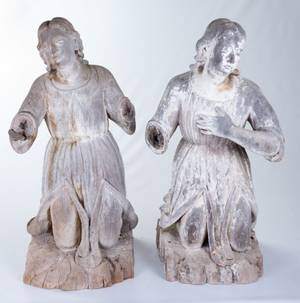 L 18th  E 19th Century Carved Wood Angels