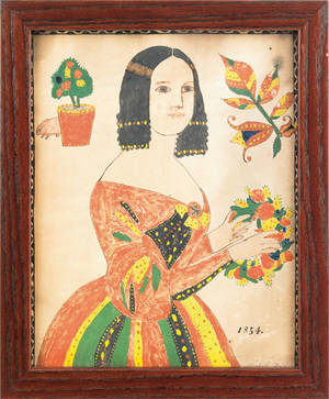 Pennsylvania watercolor portrait of a woman dated 1854