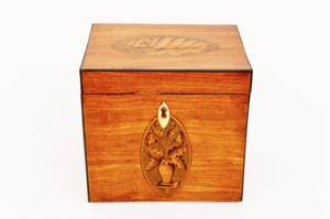 Late 19th C Satinwood Inlaid Tea Caddy