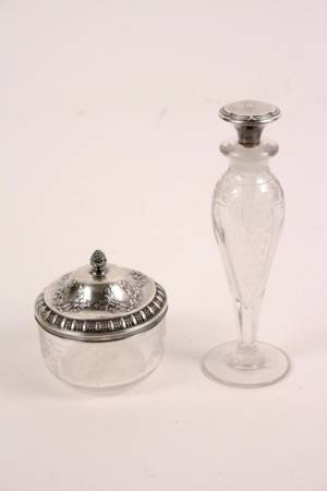 Group of 2 Sterling  Glass Vanity Dresser Items