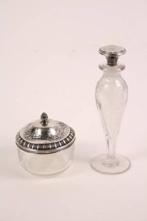 Group of 2 Sterling  Glass Vanity Dresser Items