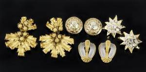 JANE FONDA FRENCH DESIGNER GOLD COSTUME EARRINGS