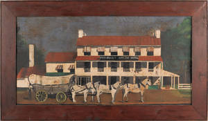 Pennsylvania oil on zinc folk painting of the Perkiomen Bridge Hotel