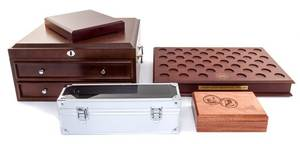 A Collection of Numismatic Display Boxes and Carrying Cases