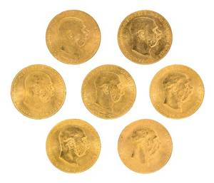 A Group of Seven AustroHungarian 1915 100 Corona Gold Coins