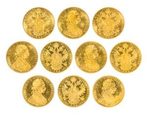 A Group of Ten AustroHungarian 1915 4Ducat Gold Coins