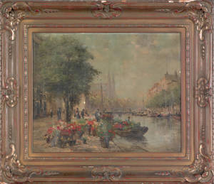 Fine French oil on canvas impressionist canal scene 19th c