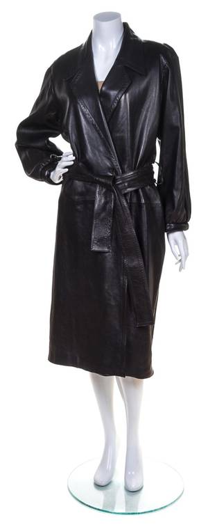 An Yves Saint Laurent Black Leather Trench Coat