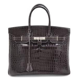 An Hermes Graphite Porosus Crocodile 35cm Birkin Handbag