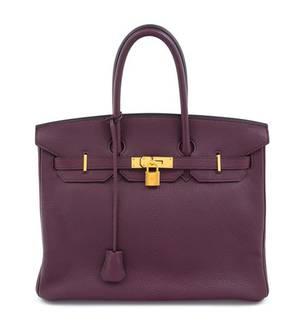 An Hermes Bicolor Raisin Togo 35cm Birkin Handbag