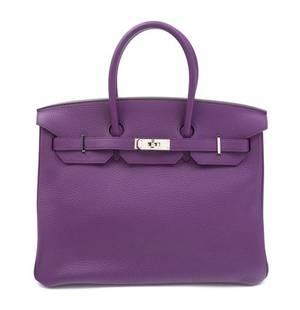 An Hermes Ultraviolet Taurillion Clemence 35cm Birkin Handbag