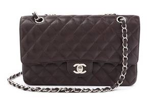 A Chanel Brown Caviar Leather Double Flap Handbag
