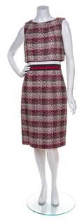 A Carolina Herrera Multicolor Tweed Sleeveless Dress