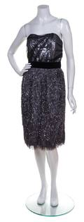 A Bill Blass Grey Tinsel Strapless Cocktail Dress