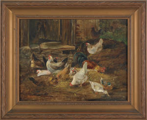 Oil on board landscape with chickens