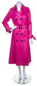 A Brioni Hot Pink Leather Double Breasted Trench Coat