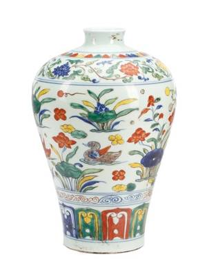 Chinese Wucai Enamel Meiping Vase Xuande Mark