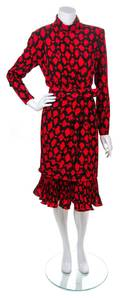 A Louis Feraud Black and Red Print Layered Dress