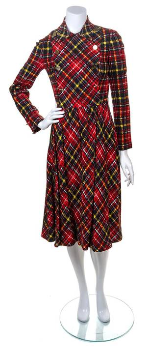 A Geoffrey Beene Multicolor Wool Plaid Dress