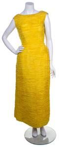 A Sybil Connolly Yellow Silk Sleeveless Gown