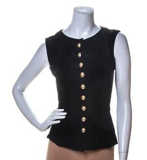 An Yves Saint Laurent Black Velvet Sleeveless Top