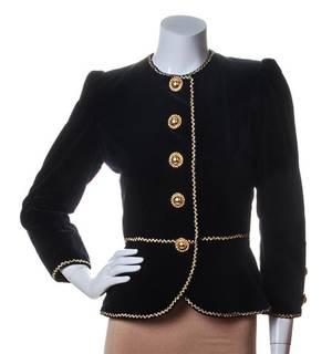 An Yves Saint Laurent Black Velvet Peplum Jacket