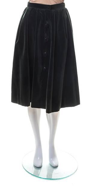 An Yves Saint Laurent Green Velvet Pleated Skirt