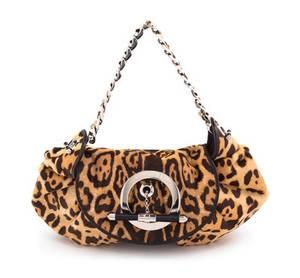 A Christian Dior Printed Calf Hair Handbag