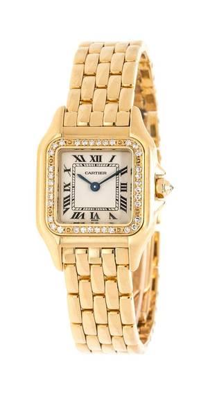 An 18 Karat Yellow Gold and Diamond Ref 12802 Panthere Wristwatch Cartier