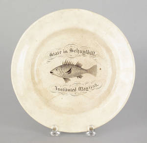 Staffordshire transfer decorated plate of Pennsylvania interest 19th c