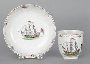 Chinese export porcelain cup and saucer made for the American market ca 1795