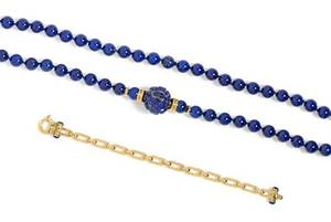 A Collection of Lapis Lazuli and Yellow Gold Jewelry