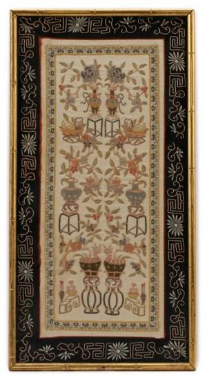 Framed Chinese Silk Embroidery Textile Panel