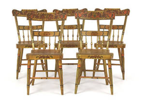 Set of five Pennsylvania painted plank seat chairs mid 19th c