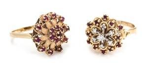 A Collection of 14 Karat Yellow Gold Ruby and Diamond Rings