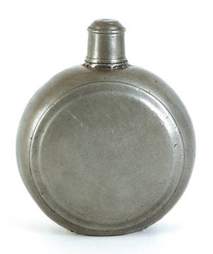 American pewter flask late 18th c