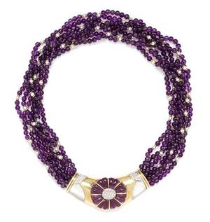 A Yellow Gold Amethyst Cultured Pearl MotherofPearl and Diamond Multi Strand Necklace