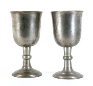 Two Philadelphia pewter chalices attributed to John Harrison Palethorp ca 1830